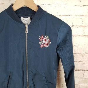Girls Full Tilt Bomber Jacket w/ Floral Embroidery